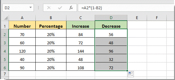 Increase or decrease cell number by percentage with Paste Special