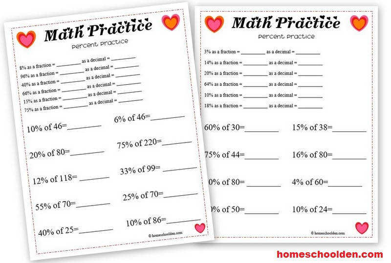 Free Valentines Day Math Worksheet Percentages