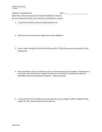 Chemistry Molecular Formula Worksheet Answers Templates and Percent position and Molecular
