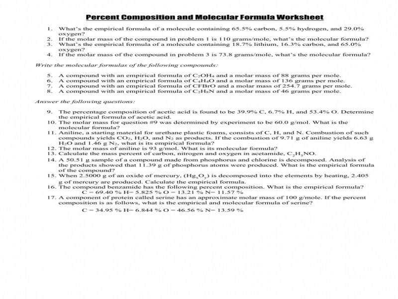 Percent position And Molecular Formula Worksheet