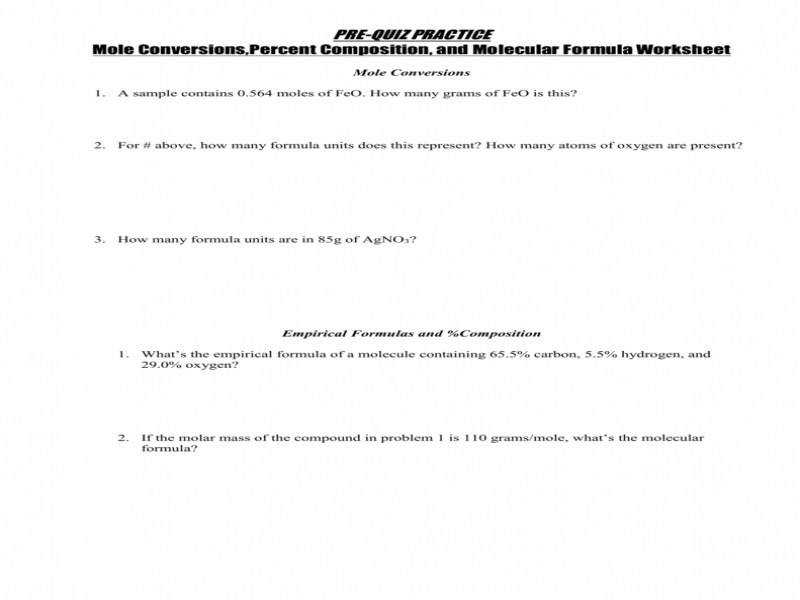 Percent composition and empirical formula worksheet answer key