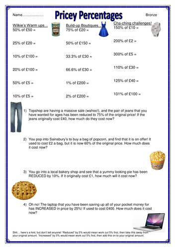 Shopping themed percentages of amounts worksheets