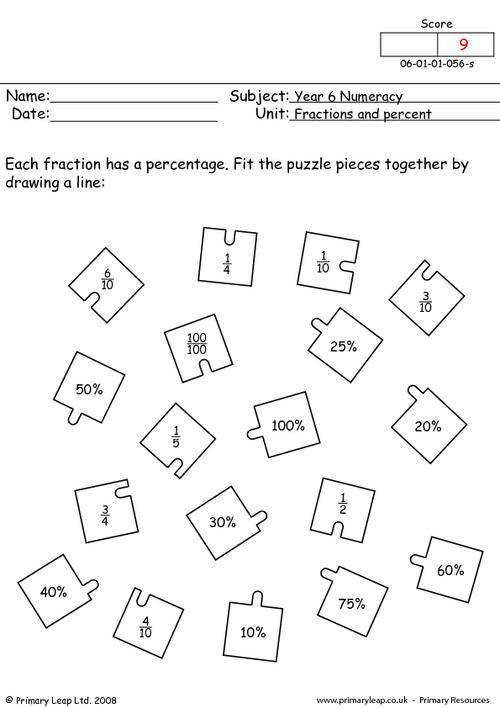 Primaryleap Fractions And Percent Worksheet