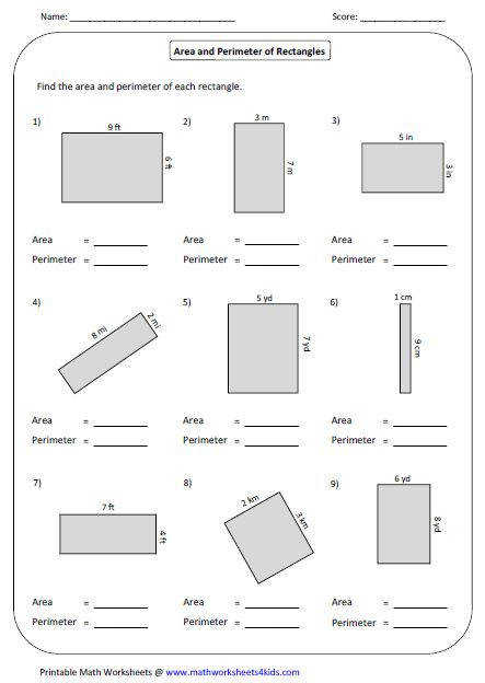 Area and Perimeter of Rectangle Mixed