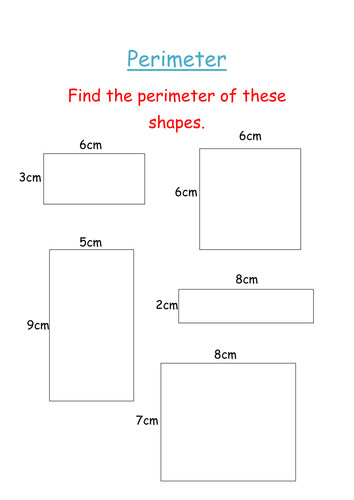 Perimeter of squares and rectangles sheet by groov e chik Teaching Resources Tes