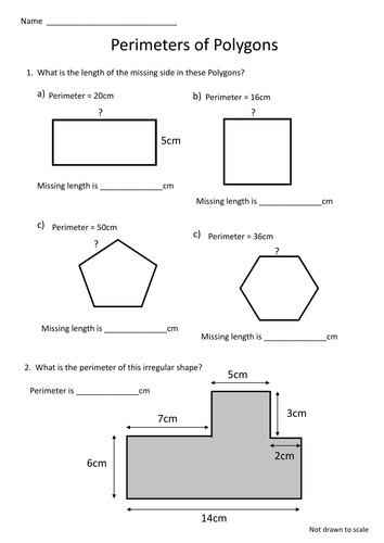 Polygon Perimeter Worksheet missing lengths by craigyd Teaching Resources Tes