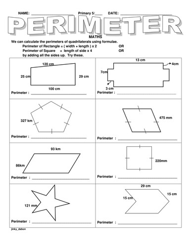 KS2 Perimeter of Different Shapes by jinkydabon Teaching Resources Tes