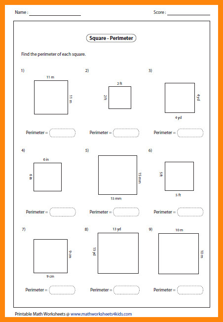 area and perimeter worksheet square perimeter large