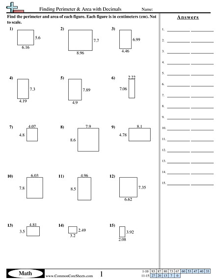 Finding Perimeter & Area with Decimals worksheet