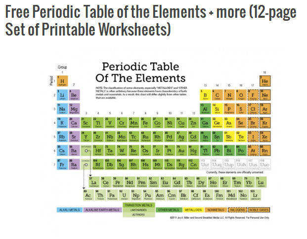 FiveJ s has a FREE Periodic Table