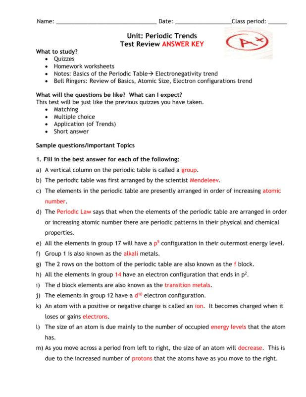 Periodic Trends Worksheet Answers Homeschooldressage. Name Date Period Unit 2 Trends Worksheet Periodic Table Review Answers From. Worksheet. Trends In The Periodic Table Worksheet Answers At Mspartners.co