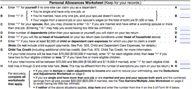 """The Personal Allowances worksheet is for everyone and it s straightforward Your """"personal allowances"""" basically represent your deductions"""