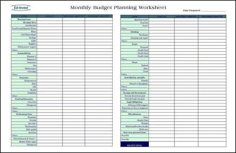 Personal Finance Worksheets Financial Planning Spreadsheet Financial Planning Definition