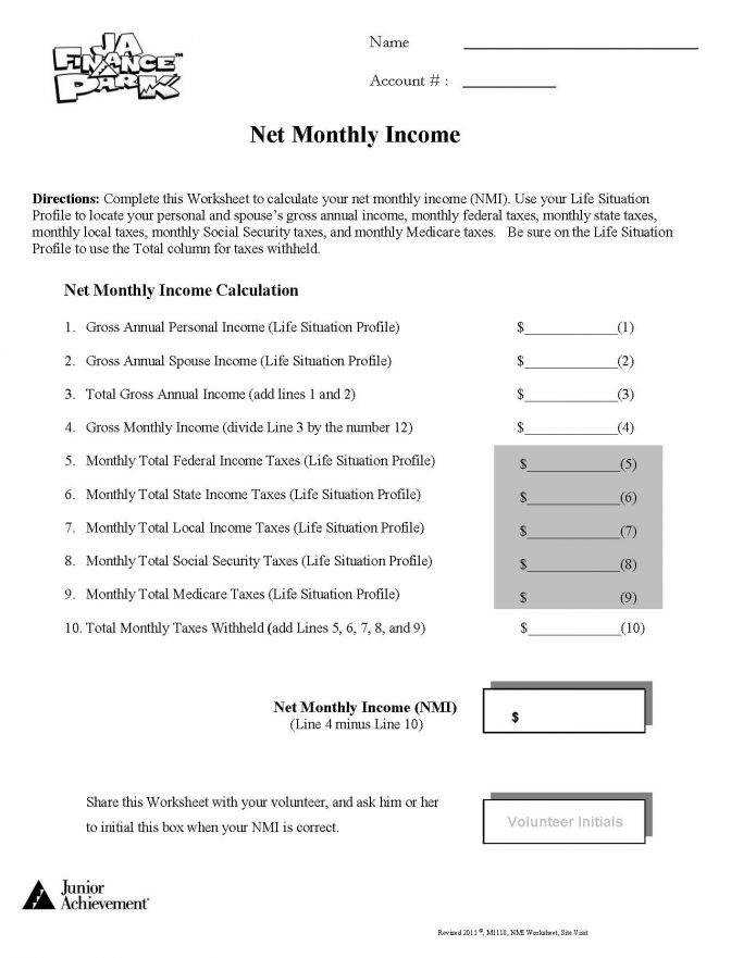 Personal Finance Worksheets Thebridgesummit Co Best Solutions Financial Literacy For High School In L Consumer