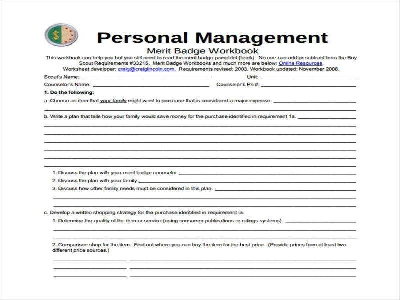 Personal Management Merit Badge Worksheet Guillermotull