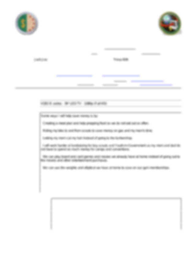 Personal Management Merit Badge Worksheet