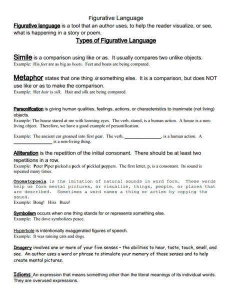 Figurative Language Packet 6th 12th Grade Worksheet