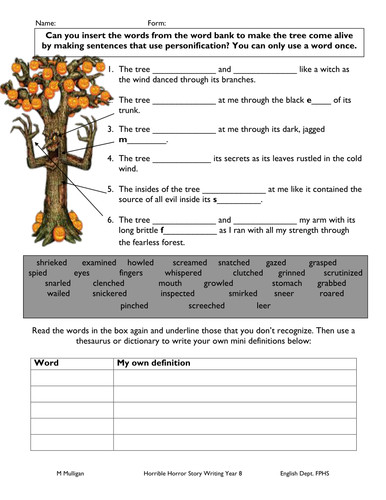 Personification worksheet for weak pupil by diamond raindrops Teaching Resources Tes