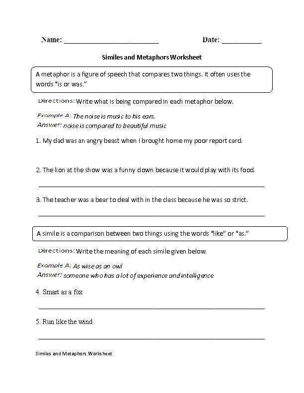 Similes and Metaphors Worksheet Intermediate