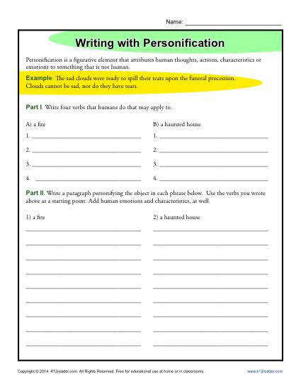 Writing Worksheet Activity Personification