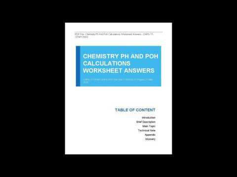 Chemistry Ph And Poh Calculations Worksheet Answers