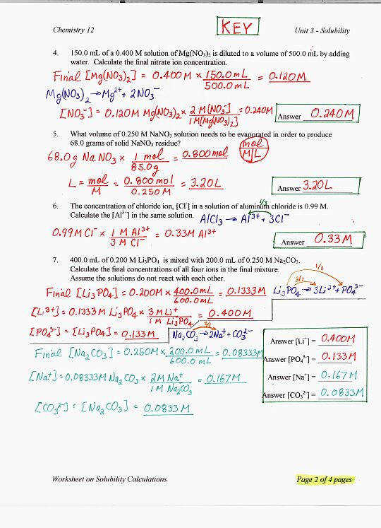 Chemistry Ph And Poh Calculations Worksheet
