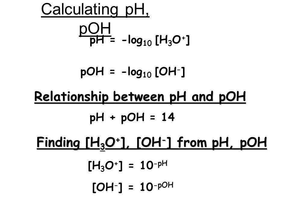 Calculating pH pOH Relationship between pH and pOH