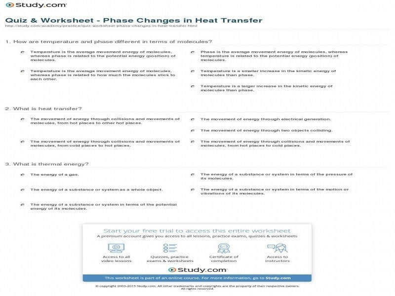 Quiz & Worksheet – Phase Changes In Heat Transfer