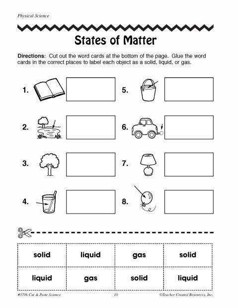 Languages Free Printable Phases Matter Worksheets Here