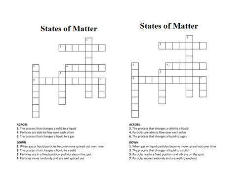 States of Matter Crossword Wordsearch by penny corp Teaching Resources Tes