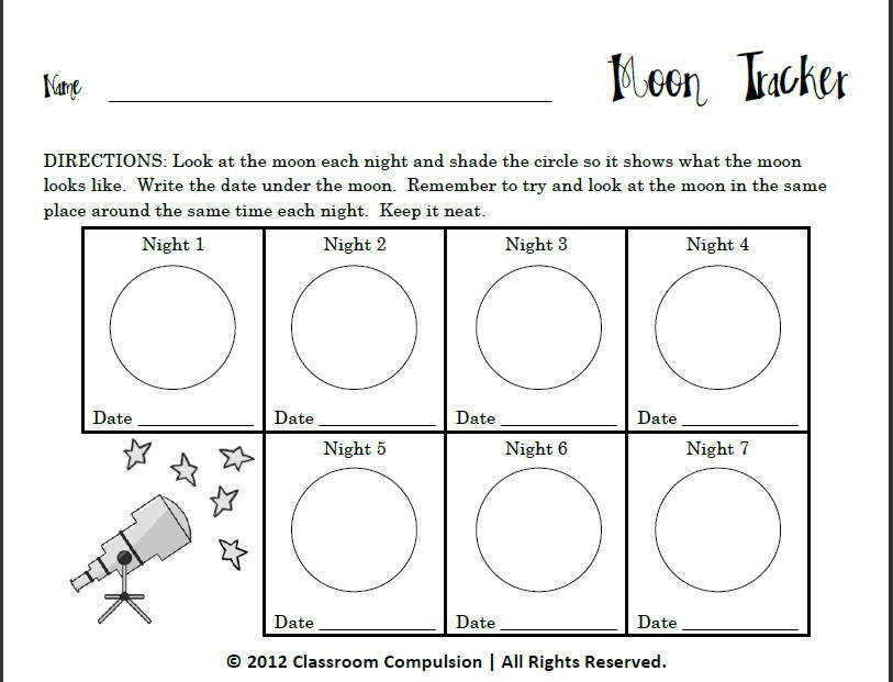 Classroom Freebies Too Moon Tracker for Moon Phases Unit