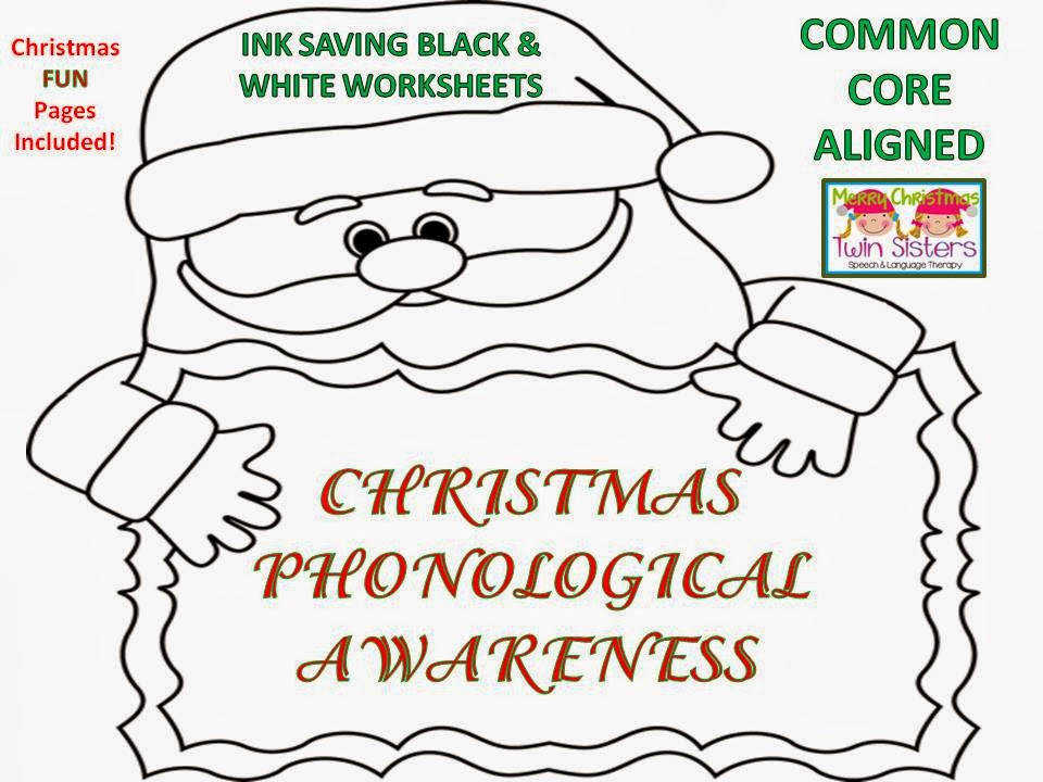 Christmas Phonological Awareness B&W Worksheets FREE Fun sheets