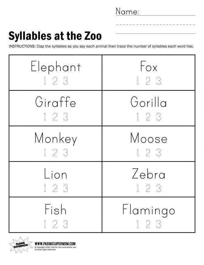 Syllables At The Zoo Worksheet Paging Supermom School Practice 17e65a0ee147efd031e4d Phonemic Awareness Lesson Plans For Kindergarten