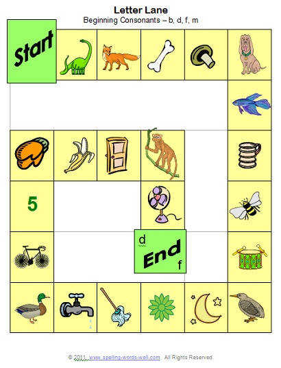 phonemic awareness game Letter Lane