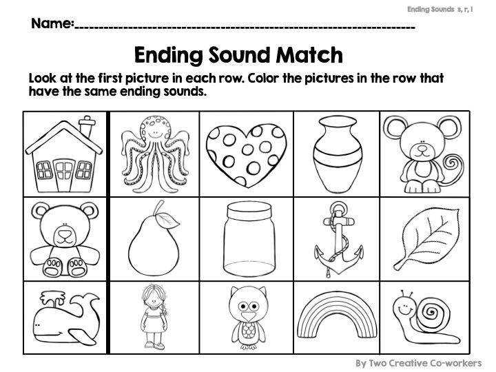 Ending Sounds Worksheets for Kindergarten Teaching PhonicsPhonemic AwarenessArt