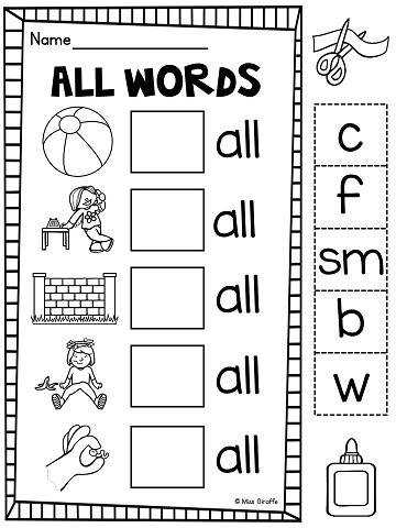 all word ending practice worksheets and phonics activities that are differentiated and fun