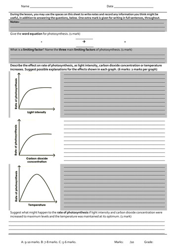synthesis Limiting Factors Graphs Worksheet by PeteJago Teaching Resources Tes