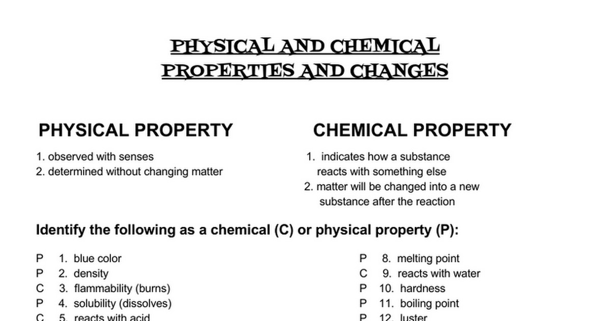 Physical Chemical Changes Worksheets | Newatvs.Info
