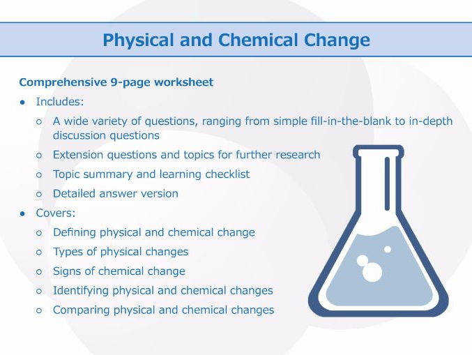 Physical and Chemical Change Worksheet by GoodScienceWorksheets Teaching Resources Tes