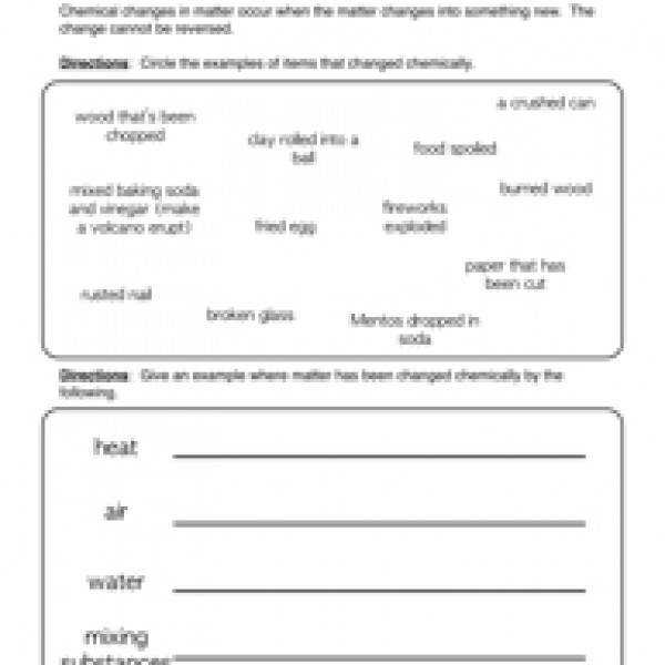 worksheet Physical And Chemical Change Worksheet