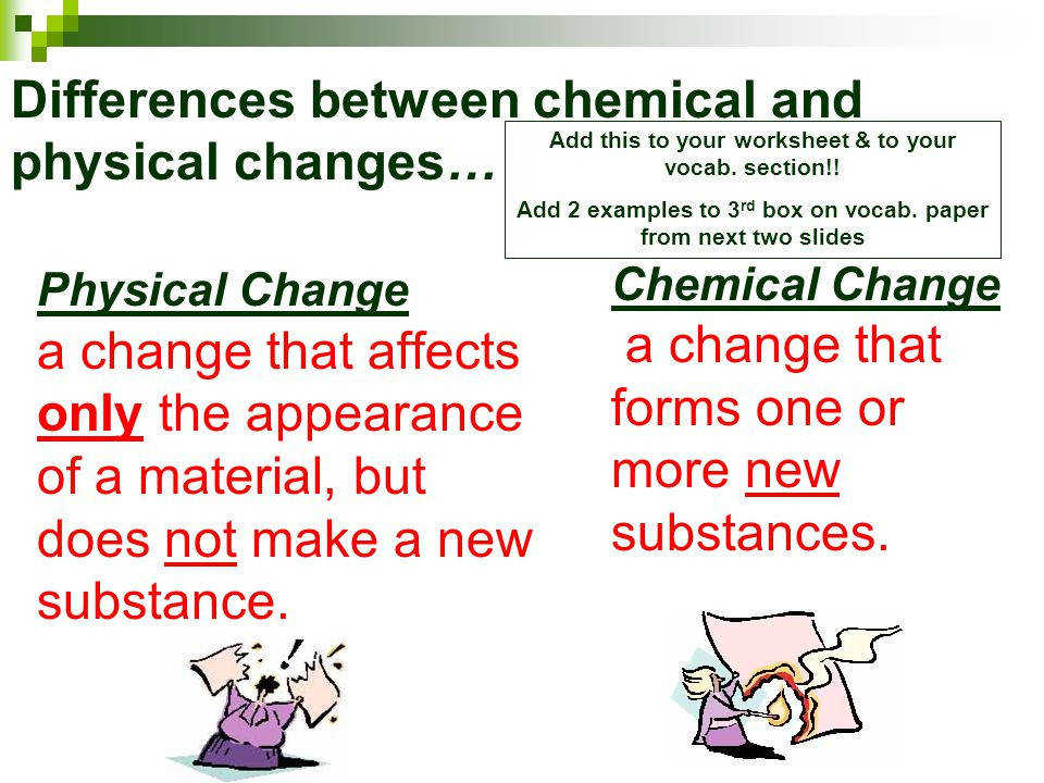 Differences between chemical and physical changes…