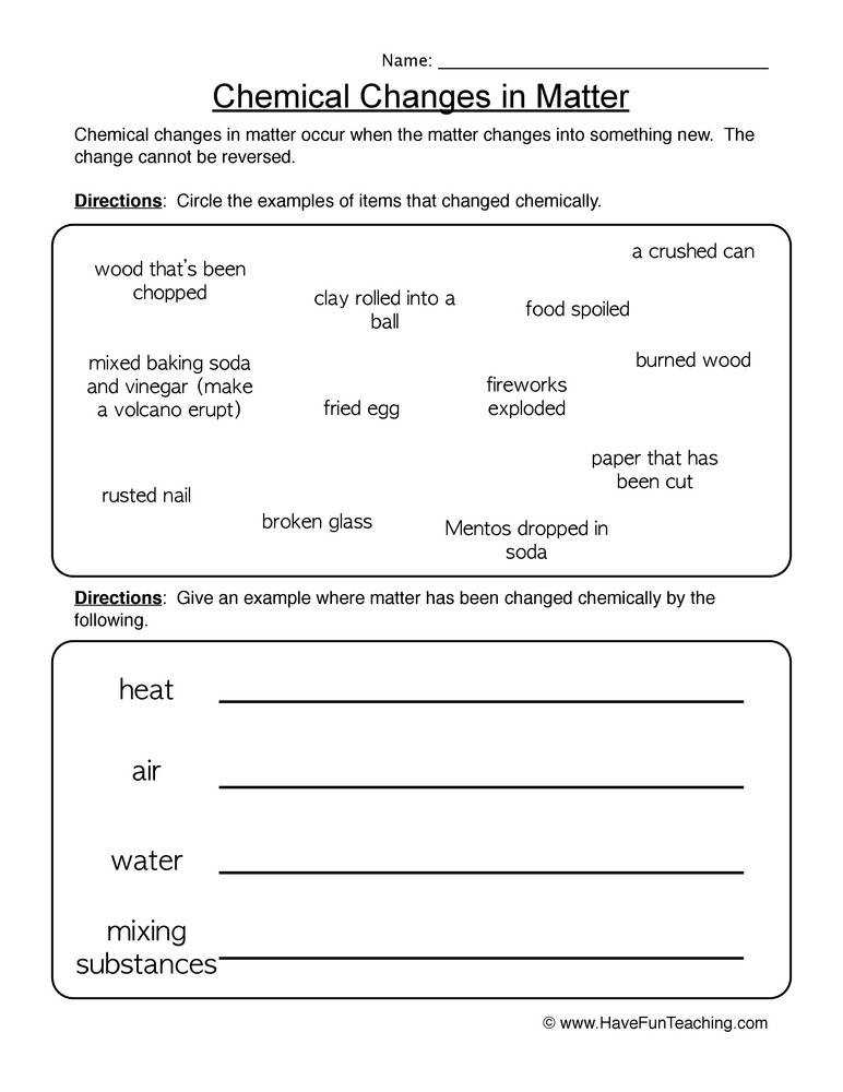 Chemical and Physical Changes Education Pinterest