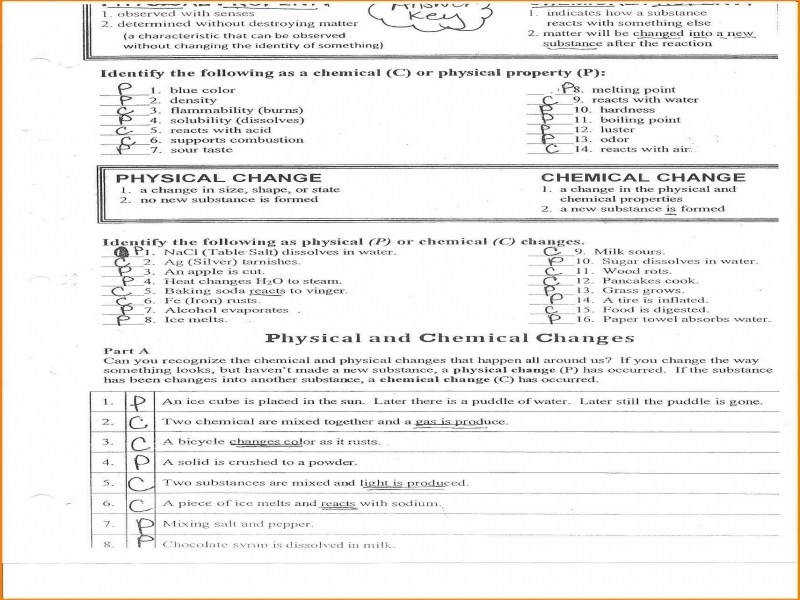 Physical And Chemical Properties And Changes Worksheet Answers