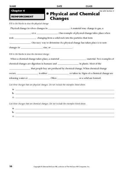 Physical And Chemical Properties Matter Worksheet