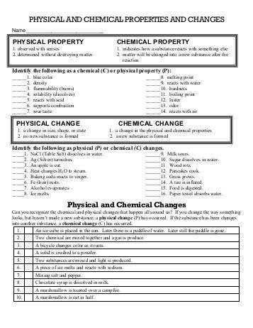 Physical and Chemical Changes Worksheet Cobb Learning