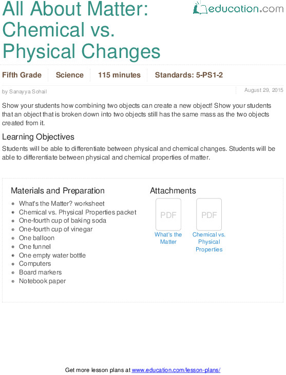 All About Matter Chemical vs Physical Changes Lesson Plan