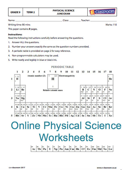 Grade Nine line Physical Science Worksheets Elements table For more visit