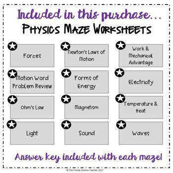 Physical Science Worksheet BUNDLE Mazes for Physical Science Part I