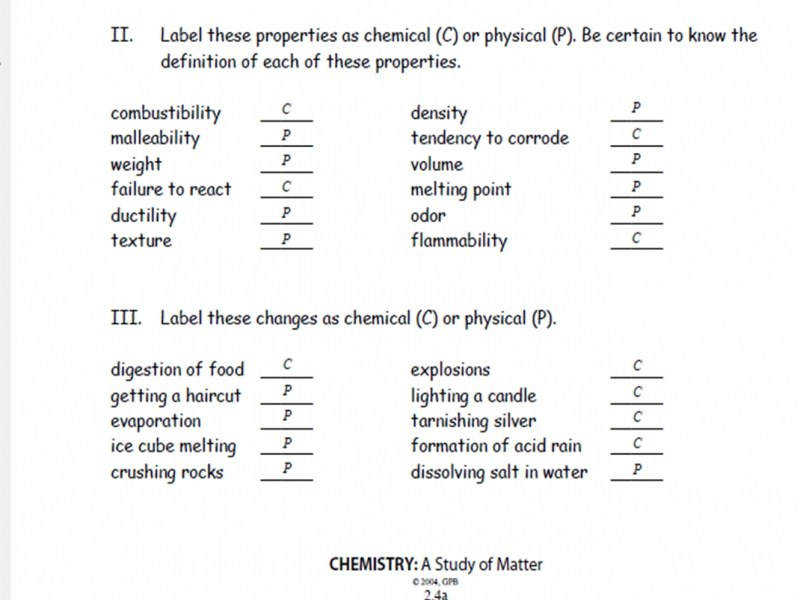 Physical And Chemical Properties And Changes Answer Sheet Erkal