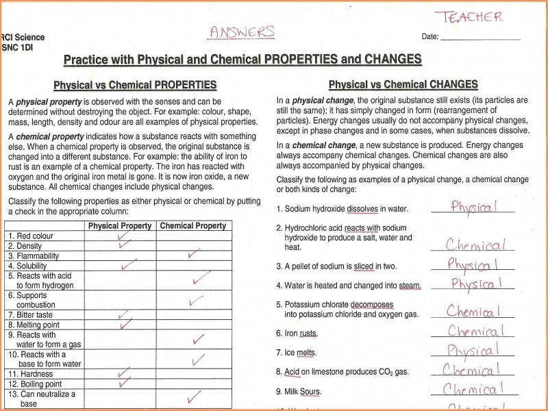 Matter And Change Worksheet Answersysical And Chemical
